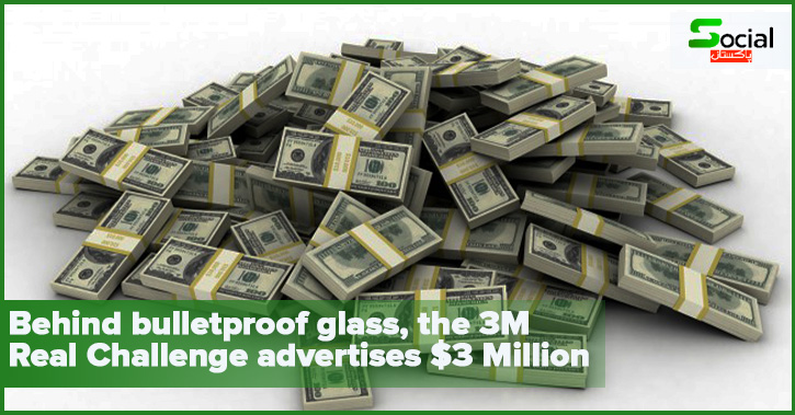 Behind bulletproof glass, the 3M Real Challenge advertises $3 million.