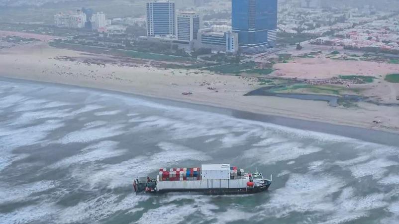 A cargo ship carrying tonnes of petroleum is stuck at Karachi's SeaView.