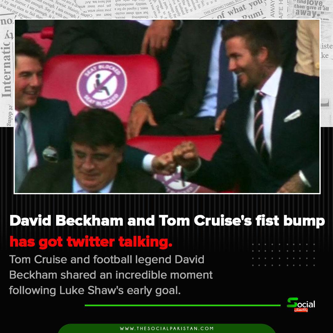 David Beckham and Tom Cruise's fist bump has got twitter talking.