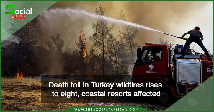The death toll from wildfires in Turkey has risen to eight.