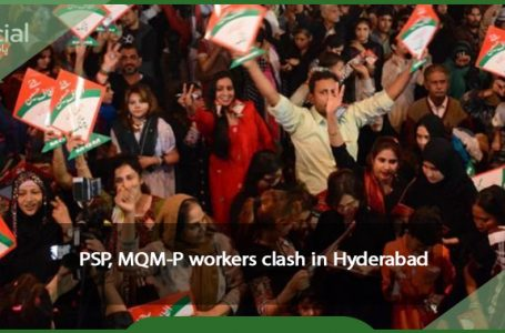 Workers from the PSP and the MQM-P clash in Hyderabad.